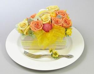 【誕生日】 【花】 【送料無料】プリザーブドフラワー オレンジショートケーキ【女性】