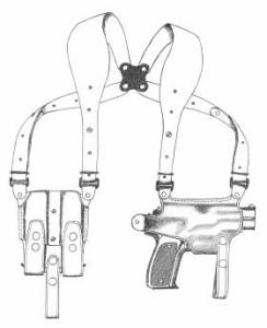 イーストA エアガン 革製ホリゾンタルシルエットショルダーホルスター No.283
