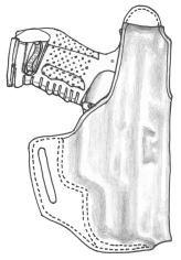イーストA エアガン 革製シルエットホルスター サムブレイククロスタイプ No.255 BK