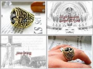 限界価格!【黒と金】ブリリアントカット◇オニキス百合の紋章リング◇ブラス/HR指輪