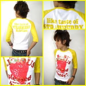 メール便なら送料無料!ストロベリー&ゴールド★ラグラン7分丈Tシャツ☆白×黄(型番910s9123)