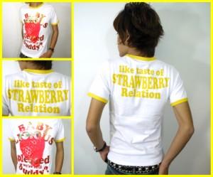 メール便なら送料無料!ストロベリー&ゴールド★リンガーTシャツ☆白×黄(型番910s9125)