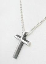 ネックレス シルバー925 サイドいぶし立体クロスモチーフ 十字架 【ネックレストップ】 Silver925 シンプル レディース メンズ