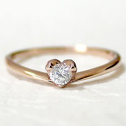 ハートリング ダイヤモンドリング 一粒ダイヤ ピンクゴールドK18 指輪 K18PG ピンキーリング 送料無料