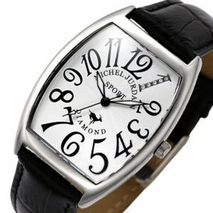 ミッシェル ジョルダン/MICHAEL JURDAIN メンズ腕時計 トノー 5Pダイヤ ホワイト文字盤 ブラックレザーベルト SG-1000-11