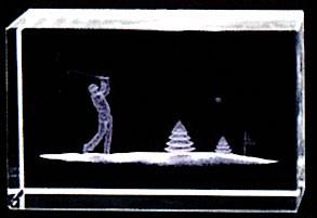 名入れ3Dクリスタル(ゴルフ)ホルインワン記念