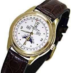 【在庫限り】【Christiano Domani】ムーンフェイズ 腕時計メンズ CD-2001-1 革ベルト 金ベゼル