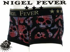 ★NIGEL FEVER★MensBoxer ナイジェルフィーバー/ローライズボクサーパンツ[SKULL CHECK スカルチェック柄]レッド(赤)/グレー