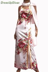 和柄花魁乱れ咲き☆ストール・帯付サテンホルターロングドレス【DREOP9B20】