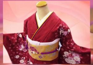 セミオーダー正絹ブランド振袖ぜ〜んぶ揃った豪華フルセット★Adam&Eve赤色地花花ブーケ