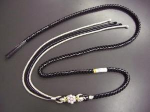 振袖成人式&着物に パール飾り付2色使い正絹帯締め帯〆黒(銀)