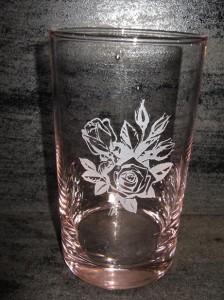 ★薔薇ピンクグラス300ml♪誕生祝・結婚祝・プレゼントに最適。(^0^)