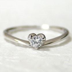 ハートダイヤリング 一粒 ホワイトゴールドK10 指輪 K10WGピンキーリングとしても 天然ダイヤモンド0.10ct送料無料diaring