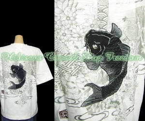 sale KARAKURI-TAMASHII 絡繰魂 絵巻鯉刺しゅう半袖Tシャツ  Lサイズ
