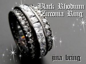 ☆キラキラ☆【ゴージャス】ブラックロジウム/ジルコニアリング◇3ライン◇SVシルバー925/HR指輪