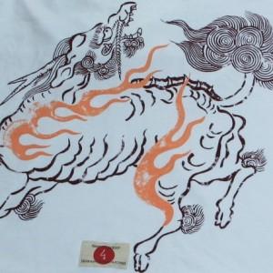 """【1】和柄Tシャツ""""麒麟""""【メール便対応/若き着物職人が創作する手染和柄/新撰組でお馴染みの壬生からお届け】"""