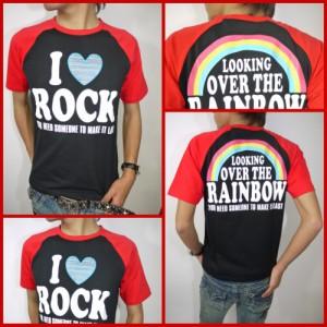 【メール便対応商品】I LOVE ROCKラグランTシャツ☆黒×赤(型番920D4008)