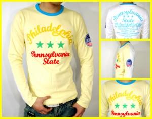 メール便なら送料無料!フロントバック切替&刺繍リンガーロンT★黄×白(型番910S2403)