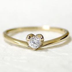 ハートダイヤリング 一粒石 イエローゴールドK18 指輪 K18YG ピンキーリング 1号〜 天然ダイヤモンド0.10ct送料無料diaring