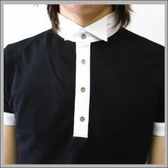 立て襟 ポロシャツ ブラック [OMEGA PROJECT]