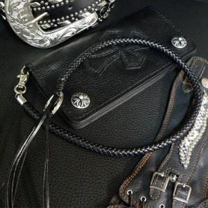 ★ウォレットロープ メンズ チェーン ワイルド ブラック 黒 落下防止 【wx4】