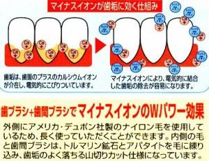 """""""トルマリン""""歯ブラシ歯間ブラシ付(3本セット)"""