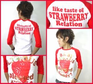 メール便なら送料無料!ストロベリー&ゴールド★ラグラン7分丈Tシャツ☆白×赤(型番910s9123)