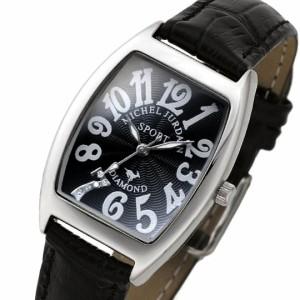 ミッシェル ジョルダン/MICHAEL JURDAIN レディース腕時計 トノー 5Pダイヤ ブラック文字盤 ブラックレザーベルト SL-1000-6 】