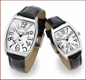 ミッシェル ジョルダン/MICHAEL JURDAIN レディース腕時計 トノー 5Pダイヤ ホワイト文字盤 ブラックレザーベルト SL-1000-11