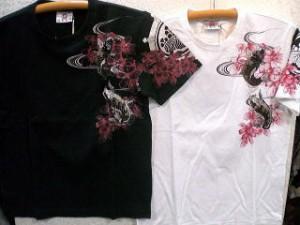 INFINITY インフィニティ 半袖和柄Tシャツ龍神と二匹鯉 刺繍