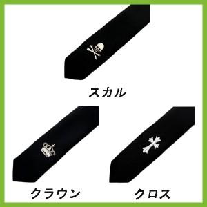 ■人気■ブラックスカル刺繍細ネクタイナロークラウンクロススリムタイメンズアクセサリースーツ