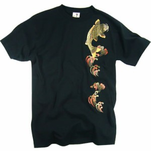 和柄むかしむかしTシャツ 金箔押し登鯉(赤黒)
