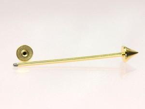 【メール便 送料無料】 ロング バーベル コーン カラー 16GA(1.2mm) Anodized加工【ボディーピアス/ボディピアス/インダストリアル】 ┃