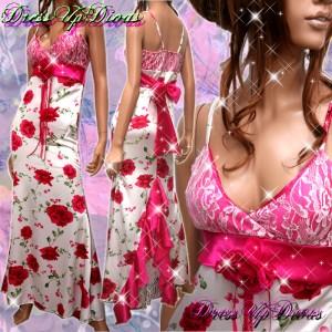 ROSE☆サテンレース切り替え♪コサージュ付きロングドレス