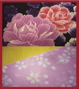 夏粋浴衣・帯・下駄or髪飾3点セット♪黒地いっぱい薔薇
