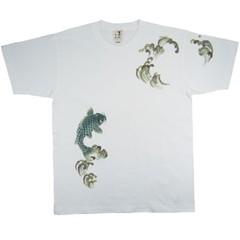 和柄むかしむかしTシャツ 登鯉