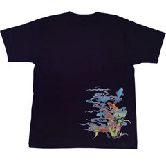 和柄むかしむかしTシャツ 流水金魚