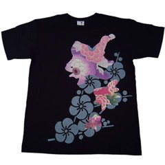 和柄むかしむかしTシャツ 梅金魚