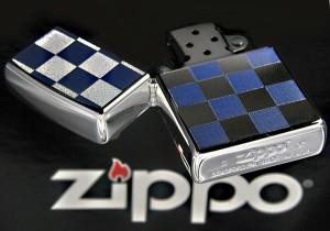 【ZIPPO】チェック柄ジッポ ブルー★チョットおしゃれな春のNEWデザインカラー