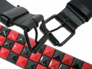 スタッズベルト/チェッカーフラッグ3連ピラミッドベルト★ブラックレッド