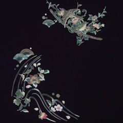 和柄むかしむかしTシャツ 鳥刀(ベニヒワとメジロ)