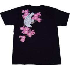 和柄むかしむかしTシャツ 白鷹梅