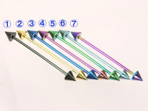 メール便 送料無料ロング バーベル コーン カラー 14GA(1.6mm) Anodized加工【ボディーピアス/ボディピアス/インダストリアル】 ┃