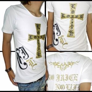 【メール便対応商品】【在庫一掃セール】【 black crown】BIGクロス&goldUネックTシャツ【70269】