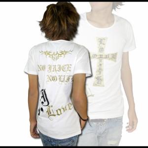 メール便なら送料無料! black crown】BIGクロス&goldUネックTシャツ【70269】