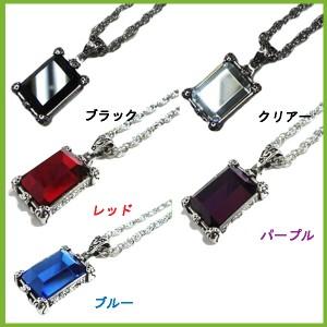 ■大人気■レッド■ビッグストーン クリスタルストーンネックレスメンズペンダント黒赤紫石