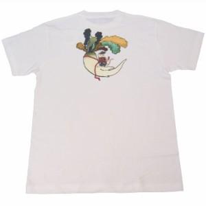 和柄むかしむかしTシャツ 大根鼠
