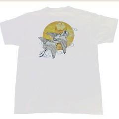 和柄むかしむかしTシャツ 夫婦鷺