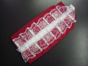 振袖成人式&浴衣に 幅広レース&ビーズ重ね衿伊達襟赤