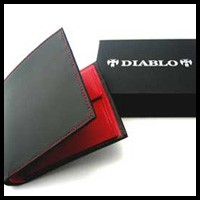 ◆レア・希少品◆DIABLOディアブロ高級2つ折短財布◇赤◇馬革(コードバン) 【送料無料】